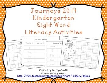 Journeys 2014 Kindergarten Sight Word Literacy Activities