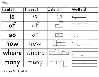 Journeys 2014 reading series Sight words Read It, Trace It, Build It, Write It