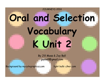 Journeys 2014/2017 Oral and Selection Vocabulary Kindergarten Unit 2