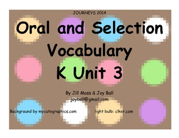 Journeys 2014 Oral and Selection Vocabulary Kindergarten Unit 3