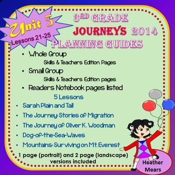 Journeys  Planning Guide Unit 5 3rd Grade