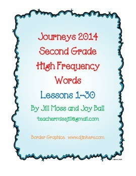Journeys 2014/2017 Second Grade High Frequency Words