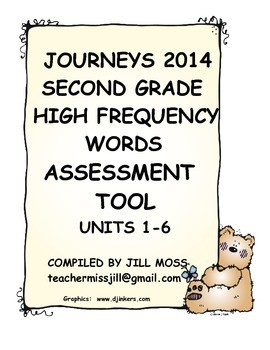 Journeys 2014/2017 Second Grade High Frequency Words Assessment Tool