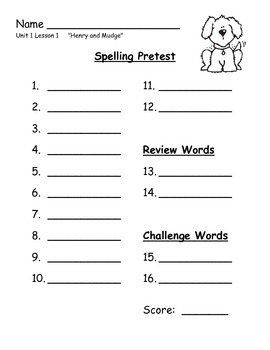 Journeys 2014/2017 Second Grade Spelling--Pre and Post Test Sheets