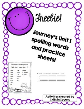 Journey's 2014 Spelling Lists: Unit 1, Weeks 1-5