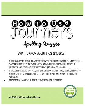 Journeys Third Grade Unit 2 Spelling Quizzes and Sentence Dictation