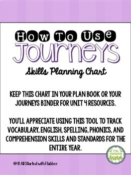 Journeys Third Grade BUNDLE Skills Planning Charts