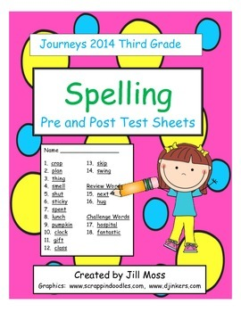 Journeys 2014 Third Grade Spelling Pre and Post Test Sheets
