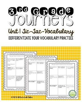 Journeys 2014 Third Grade, Unit 1 Tic-Tac-Vocabulary
