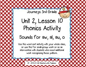 Journeys Third Grade, Unit 2, Lesson 10 Phonics Activity