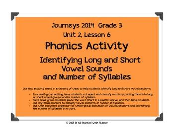 Journeys 2014 Third Grade, Unit 2, Lesson 6 Phonics Activity