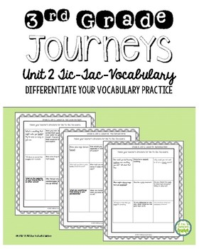 Journeys Third Grade Unit 2 Tic-Tac-Vocabulary