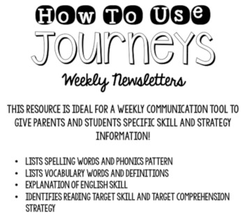 Journeys Third Grade Unit 2 Weekly Newsletters