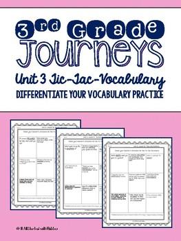 Journeys Third Grade Unit 3 Tic-Tac-Vocabulary