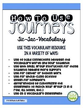 Journeys Third Grade Unit 5 Tic-Tac-Vocabulary
