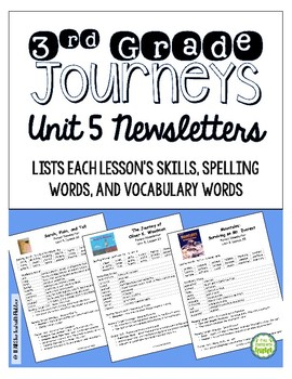 Journeys Third Grade Unit 5 Weekly Newsletters