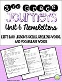 Journeys Third Grade Unit 6 Weekly Newsletters