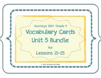 4th Grade Journeys 2014 Unit 5 Vocabulary Card Bundle for