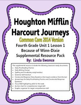 Journeys 2014 Version Fourth Grade Unit 1 Lesson 1 - Because of Winn-Dixie