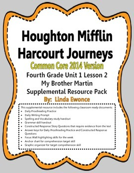 Journeys 2014 Version Fourth Grade Unit 1 Lesson 2 - My Brother Martin