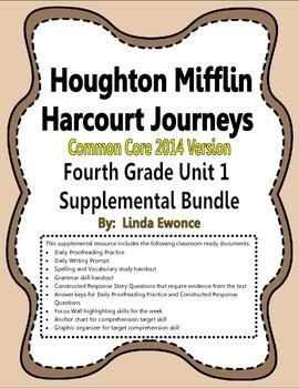 Journeys 2014 Version Fourth Grade Unit 1 Supplemental Bundle