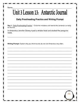 Journeys 2014 Version Fourth Grade Unit 3 Lesson 13- Antarctic Journal