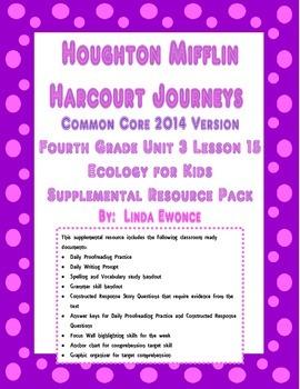 Journeys 2014 Version Fourth Grade Unit 3 Lesson 15 - Ecology for Kids