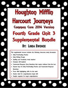 Journeys 2014 Version Fourth Grade Unit 3 Supplemental Bundle