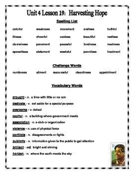 Journeys 2014 Version Fourth Grade Unit 4 Lesson 19 - Harvesting Hope