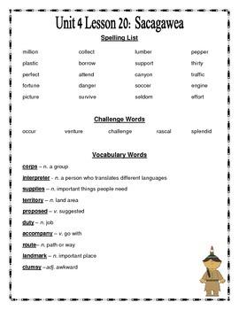 Journeys 2014 Version Fourth Grade Unit 4 Lesson 20 - Sacagawea