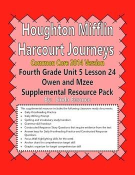 Journeys 2014 Version Fourth Grade Unit 5 Lesson 24 - Owen & Mzee