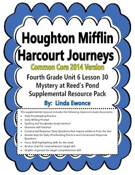 Journeys 2014 Version Fourth Grade Unit 6 Lesson 30 - Mystery at Reed's Pond