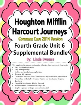 Journeys 2014 Version Fourth Grade Unit 6 Supplemental Bundle