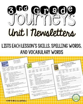 Journeys 2014 Third Grade, Unit 1, Weekly Newsletters
