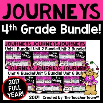 Journeys 4th Grade Units 1-6 Full Year Supplemental Activities & Printables 2017