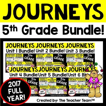 Journeys 5th Grade Units 1-6 Full Year Supplemental Activities & Printables 2017