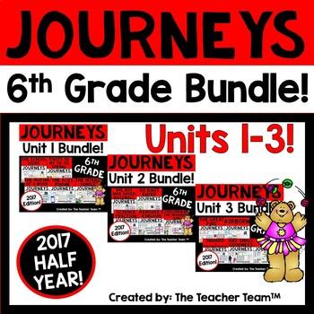 Journey 6th Grade Units 1-3 Half Year Bundle Supplemental Materials 2017