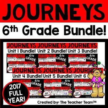 Journeys 6th Grade Units 1-6 Full Year Bundle Supplemental Materials 2017