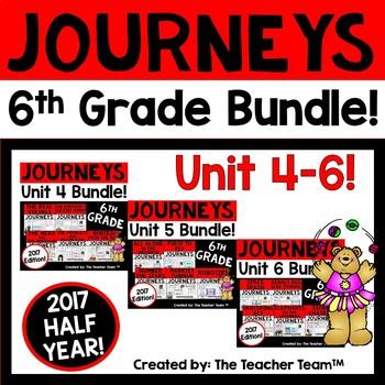 Journeys 6th Grade Units 4-6 Half Year Bundle Supplemental Materials 2017