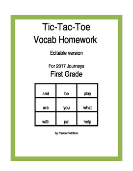 Journeys 2017 - Editable 1st grade  Reading Vocabulary Homework Practice Game