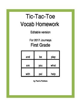 Journeys 2017 - Editable 1st grade  Reading Vocabulary Hom
