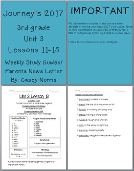 Journeys 2017 3rd Grade Weekly Study Guide Unit 3