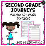 Journeys 2017 Second Grade Vocabulary Words in Sentences Writing Worksheets