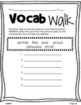 Journeys 2017 - Unit1 - Vocabulary Walk - Third Grade