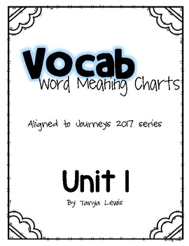 Journeys 2017 - Unit1 - Vocabulary Word Meaning Charts - Third Grade