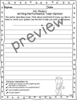 Journeys 2nd Grade Ah, Music! Weekly Skills Test and Writing Tasks