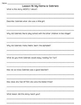 Journeys 2nd Grade Comprehension Questions UNIT 4