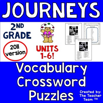 Journeys 2nd Grade Crossword Puzzles Units 1 - 6 Full Year Bundle 2011