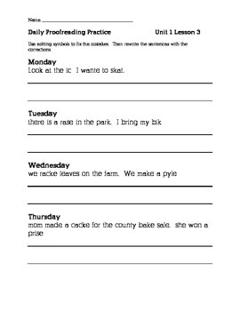 Journeys 2nd Grade Daily Proofreading Practice BUNDLE!