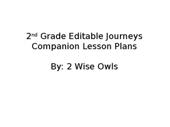 Journeys 2nd Grade Editable Lesson Plans - Unit 5